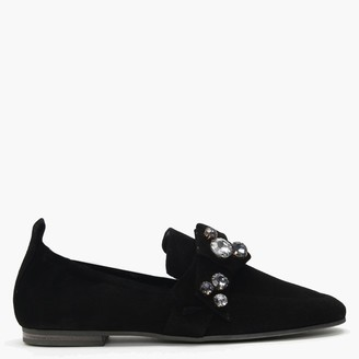 Kennel + Schmenger Turner Black Suede Jewelled Bow Loafers