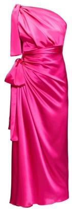 Dolce & Gabbana Asymmetric Knotted Silk-satin Dress - Fuchsia