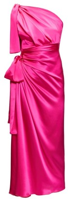 Dolce & Gabbana Asymmetric Knotted Silk-satin Dress - Womens - Fuchsia