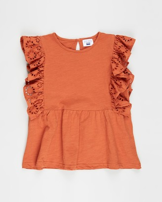 Cotton On Girl's Orange Short Sleeve Tops - Jade Short Sleeve Frill Top - Teens - Size 10 YRS at The Iconic