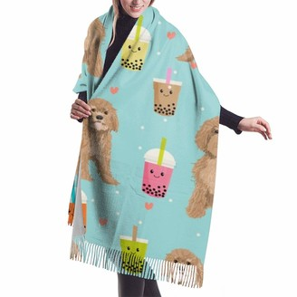 Meiya Design Women's Fall Winter Scarf Cavoodle Bubble Tea Boba Kawaii Cute Cavapoo Pattern Classic Scarf Warm Soft Large Blanket Wrap Shawl Scarves