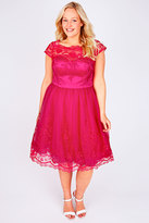 Yours Clothing CHI CHI LONDON Hot Pink Sweetheart Embroidered Party Dress