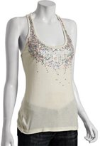 ivory jersey sequined scoop neck tank