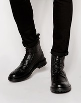 Base London Locke Leather Brogue Boots - Black