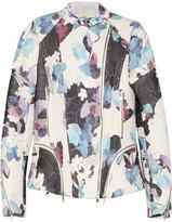 Floral-print corded silk biker jacket