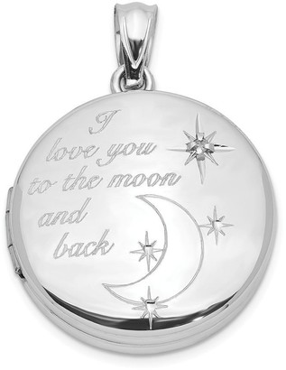Curata 925 Sterling Silver 20mm Diamond I Love You to The Celestial Moon and Back Round Photo Locket Pendant Necklace Jewelry Gi