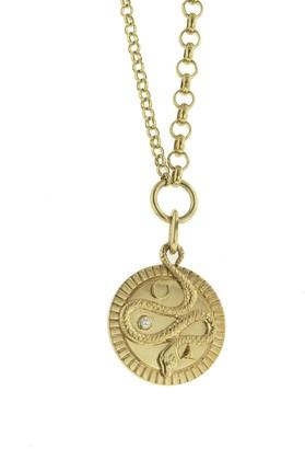 Foundrae Medium Wholeness Medallion on Yellow Gold Medium Mixed Belcher Necklace
