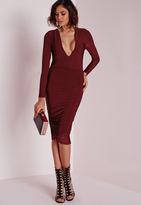 Missguided Slinky Plunge Long Sleeve Midi Dress Burgundy