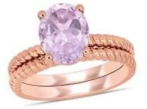 Sonatina 14K Rose Gold & Rose de France Twist Bridal Ring Set