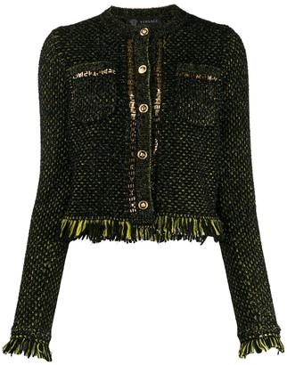 Versace Fringe-Trimmed Knitted Jacket