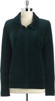 Kate Hill Plus-Size Velour Zip-Front Jacket