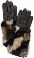 Charter Club Colorblock Faux Fur-Cuff Leather Tech Gloves, Only at Macy's