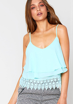 Missy Empire Astar Mint Crochet Detail Cami Top