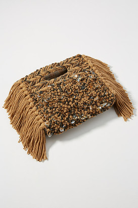 Anthropologie Milo Embellished Clutch By in Yellow Size ALL