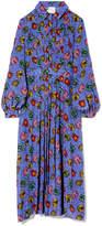 Stella Jean Pleated Long-Sleeve Shirt Dress in Small Fan/Blue