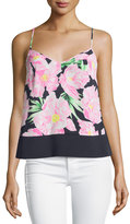 French Connection Floral V-Neck Tank, Utility Blue/Multi