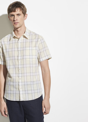 Vince Plaid Linen Short Sleeve