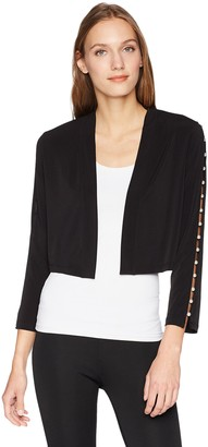Calvin Klein Women's Folded Collar Shrug with Pearl Detail