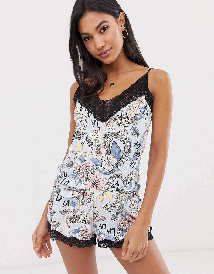 048e8d8f357 printed cami and short pyjama set in floral snake print