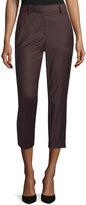 Theory Treeca Cl. Wool-Blend Cropped Pants, Garnet