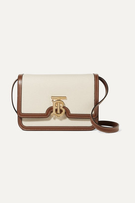 Burberry Small Canvas And Leather Shoulder Bag - Cream