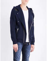 The Kooples Sport Leather-trimmed cotton jacket
