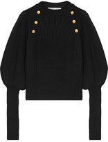 Veronica Beard Jude Embellished Merino Wool Sweater - Black