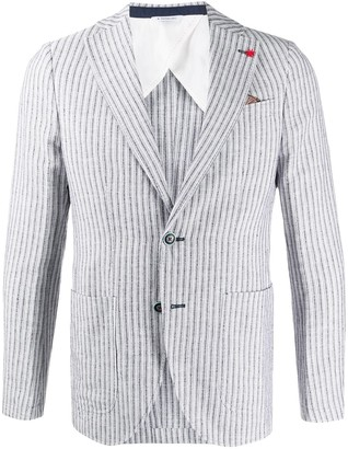 Manuel Ritz Striped Single Breasted Blazer
