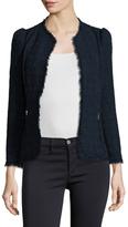 Rebecca Taylor Collarless Fringe Trimmed Jacket