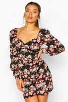 boohoo Petite Satin Floral Volume Sleeve Mini Dress