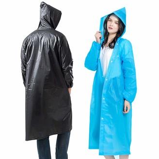 longmiao Waterproof Raincoat Reusable EVA Rain Ponchos with Elastic Drawstring Hood and Sleeves Lightweight Raincoats 2 Pack