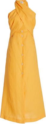 Nanushka Soffio Cutout Halter Linen Midi Dress