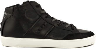 Leather Crown Black Leather High Top Sneakers