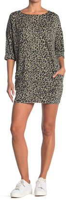 CENY 3/4 Length Sleeve Leopard Print T-Shirt Dress