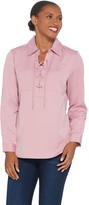 Denim & Co. Stretch Woven Lace-Up Pullover Shirt