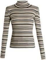Chloé Roll-neck striped cotton-blend knit sweater