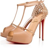 Christian Louboutin Patispiky 120 Nude/Light Gold Leather - Women Shoes