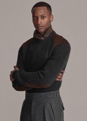 Ralph Lauren Suede-Patch Cashmere Sweater