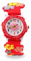 Jewtme Kids' JW0038 Flower Pattern Plastic Shell Silicone Strap Cartoon Watch Red