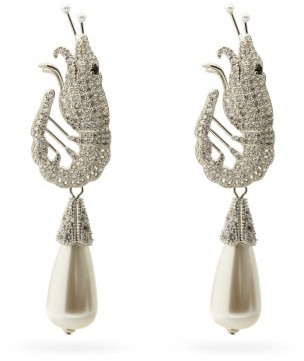 Shrimps Shrimp Crystal & Faux-pearl Clip Earrings - Pearl