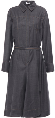 Brunello Cucinelli Bead-embellished Belted Wool-twill Shirt Dress