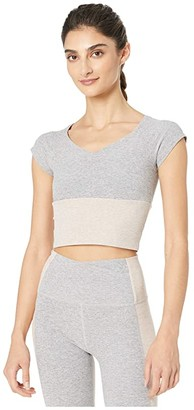Beyond Yoga Spacedye Day One Short Sleeve Cropped Top (Silver Mist) Women's Clothing