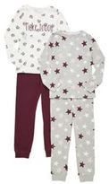 F&F 2 Pack of Raccoon and Star Print Pyjamas, Girl's