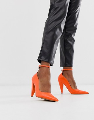 Asos Design DESIGN Producer premium leather high heeled court shoes in bright coral-Pink