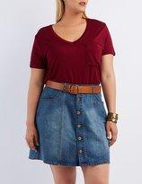 Charlotte Russe Plus Size V-Neck Boyfriend Pocket Tee