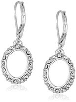 Anne Klein Silver-Tone Crystal Pave Leverback Drop Earrings