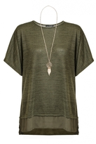 Quiz Khaki Batwing Chiffon Hem Necklace Top