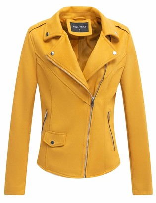 Bellivera Faux Suede Leather Jackets for Women Moto Biker Short Coat with 2 Pockets Yellow XX-Large