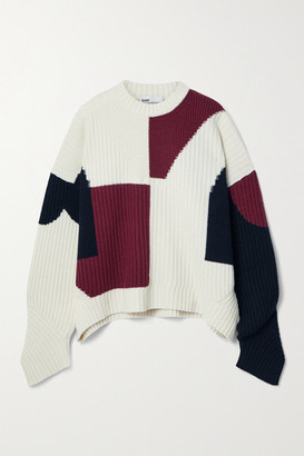 GmbH Mies Color-block Ribbed Wool Sweater - Off-white