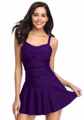 SHEKINI Women's Crossover Ruched Skirt One Piece Swimdress Swimsuit Bathing Suit - purple - Small